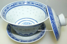 Rice Pattern Tea Cup with Lid and dish