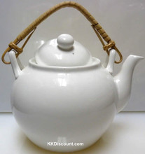 Tougei White Tea Pot with Bamboo Handle