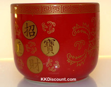 Medium Red Round Incense Holder Pot