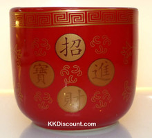 Small Red Round Incense Holder Pot