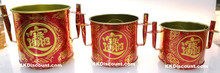 Red and Gold Tin Joss Incense Pot in Large, Medium, and Small sizes