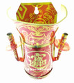 Small Red Tin Joss Incense Wall Holder with Funnel