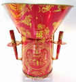 Large Red Tin Joss Incense Wall Holder with Funnel