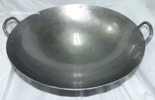 19 Inch Carbon Steel Two Handles Wok Top View