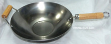 14 Inch Carbon Steel Flat Bottom Chinese Wok
