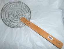 10 Inch Stainless Steel Basket Spider Skimmer with Bamboo Handle