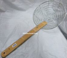 12 Inch Galvanized Steel Mesh Spider Skimmer with Bamboo Handle