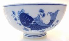 Modern Blue Koi Fish 6 Inch Soup Bowl