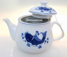 Large Modern Blue Koi Fish Teapot