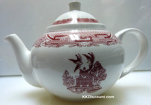 Red Landscape Tea Pot