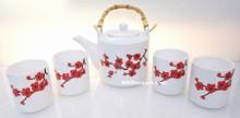 Red Plum Flower Teapot Tea Set