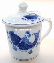 Small Modern Blue Koi Fish Mug with Lid