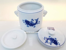 Modern Blue Koi Fish Medium Porcelain Jar Lids