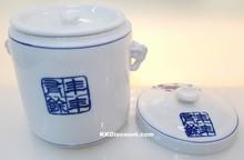 Modern Blue Koi Fish Large Porcelain Jar