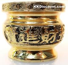 Small Brass Color Metal Joss Incense Holder Pot
