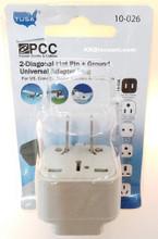 2 Diagonal Flat Pin Ground Universal Adapter Plug