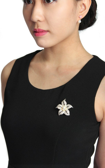 Crystal Flower Brooch | ALYSSANDRA | Singapore Online Office Wear, Executive Work Clothes