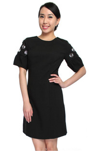 Bejewelled Puff Sleeves Shift Dress - Black | Online Boutique for Ladies Office Wear | ALYSSANDRA