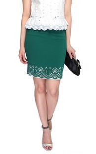 Laser Cutout Pencil Skirt - Emerald | ALYSSANDRA | Online Shopping Office Wear Singapore