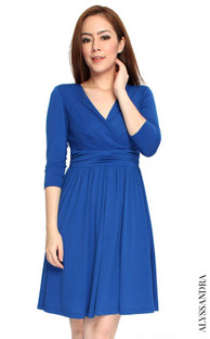 Faux Wrap Jersey Dress - Blue | Singapore Online Ladies Work Wear | ALYSSANDRA