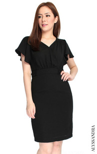 Waterfall Sleeves Pencil Dress | Singapore Online Shop for Work Dresses | ALYSSANDRA