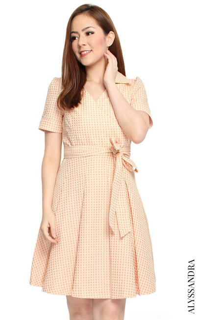 Wrap Front Flare Dress - Apricot