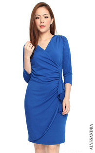 Ruched Faux Wrap Dress - Cobalt Blue