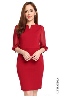 Chiffon Sleeves Work Dress - Wine