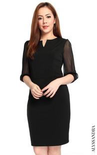 Chiffon Sleeves Work Dress - Black