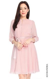 Buttons Chiffon Dress - Pink