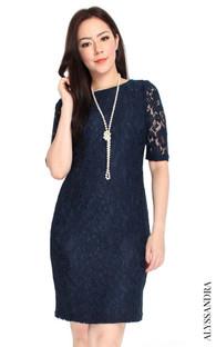 Lace Sheath Dress - Midnight Blue