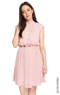 Pleated Chiffon Dress - Pink Polka Dot