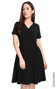 D-Ring Wrap Dress - Black