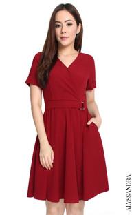 D-Ring Wrap Dress - Burgundy