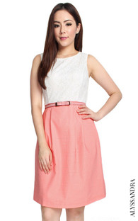 Lace Top Flare Dress - Peach Pink