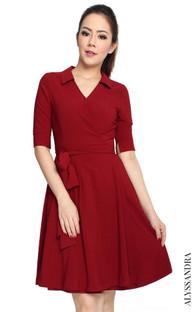 Classic Wrap Dress - Burgundy