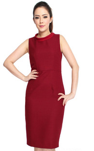 Ribbon Tie Pencil Dress - Burgundy