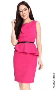 Asymmetrical Peplum Dress - Rose