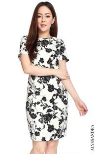 Monochrome Floral Pencil Dress - White