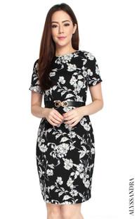 Monochrome Floral Pencil Dress - Black
