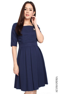 Square Neck Pleated Dress - Navy