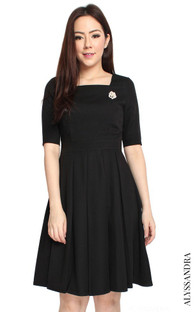 Square Neck Pleated Dress - Black