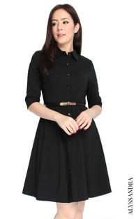 Classic Mid Sleeve Shirt Dress - Black