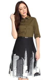 Cityscape Shirt Dress