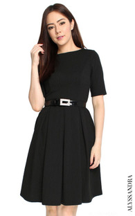 Textured Box Pleat Dress - Black