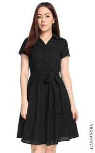 Eyelet Shirt Dress - Black