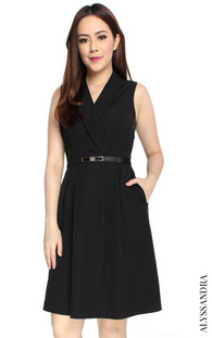 Tuxedo Pleated Dress - Black