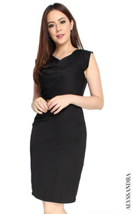 Draped Neckline Pencil Dress - Black