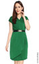 Pleated Overlap Dress - Emerald