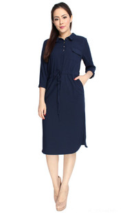 Drawstring Midi Dress - Navy